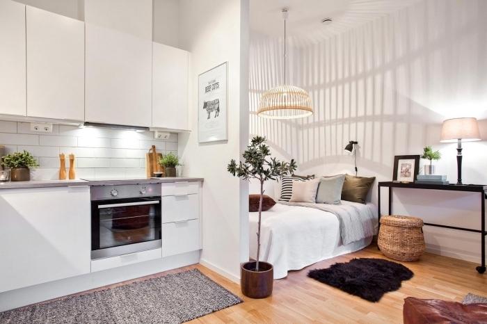 exemple de deco petit appartement avec cuisine blanche en meubles sans poignées et coin de nuit à grand lit