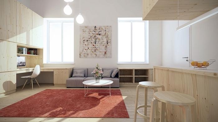 quelle couleur associer avec le blanc pour créer une déco cozy et moderne, intérieur aux murs blancs et meubles de bois clair