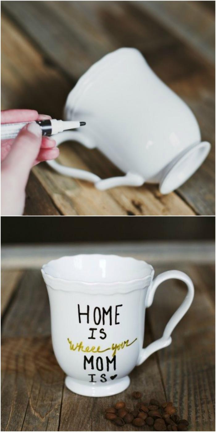 tasse à café personnalisée avec un message doux réalisé au marqueur sharpie, idée de bricolage fête des mères maternelle