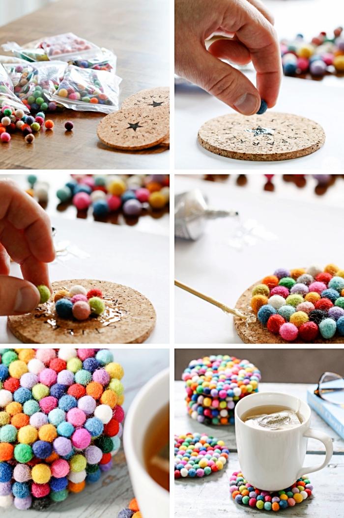idée bricolage facile avec lot de mini pompons colorés pour décorer un sous-verre à design cocooning multicolore
