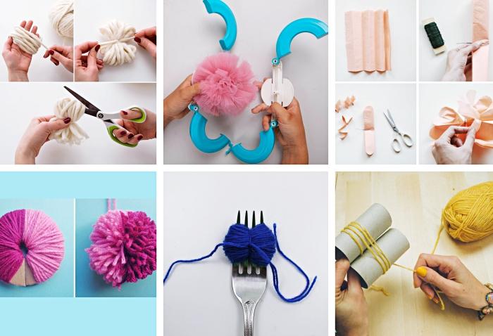 méthodes de réalisation de pompon papier de soie ou laine avec appareil pompon fourchette ou rouleau de carton