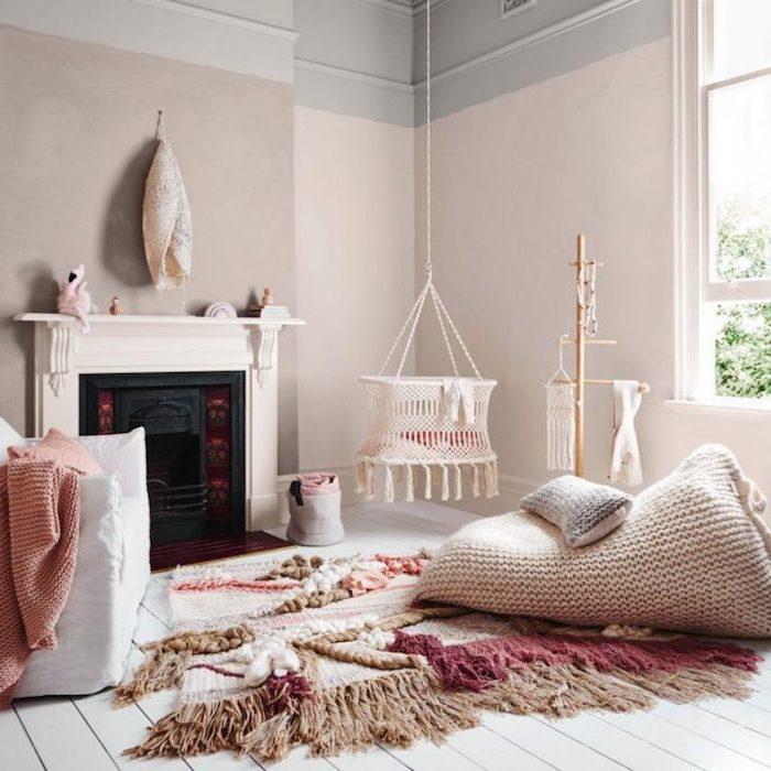 Cool idée comment décorer sa chambre à coucher contemporaine minimaliste beige coin lecture cheminee balancoire bebe