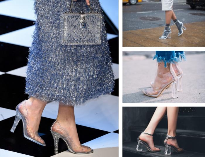modèles de chaussure a la mode à design transparent, comment porter des sandales PVC claires avec chaussettes grises