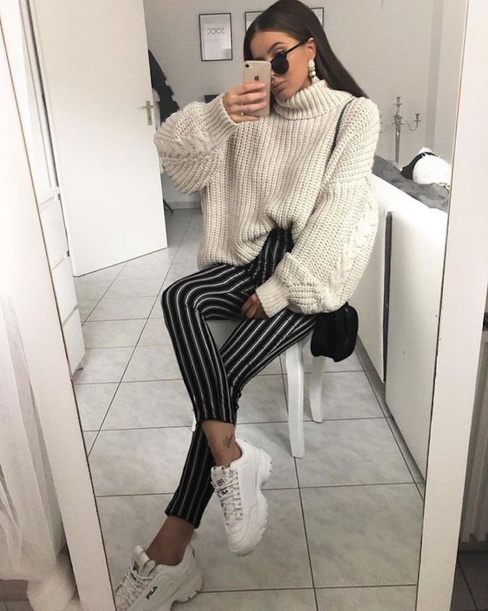 Basket tendance 2018 basket mode femme cool idée habillement et chaussures baskets blanches femme pull