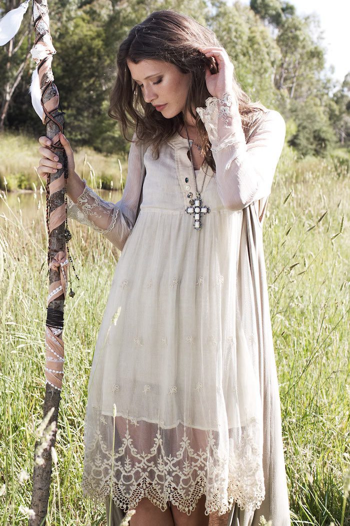 Robe longue blanche boheme robe courte blanche le bohème chic mi longue robe beige blanc