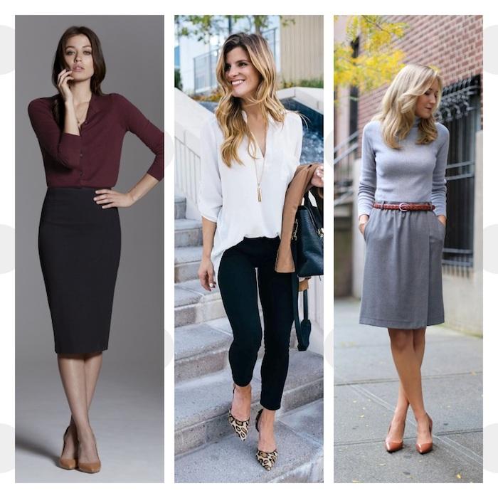 comment s habiller pour un entretien d embauche, jupe, pantalon avec chemise ou pull, vetements classiques