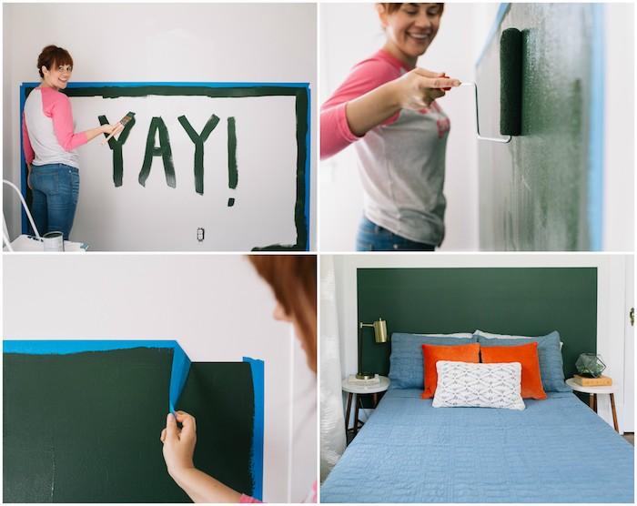 deco tete de lit imitation avec peinture verte carré derrière le lit, linge de lit orange et bleu, bricolage facile