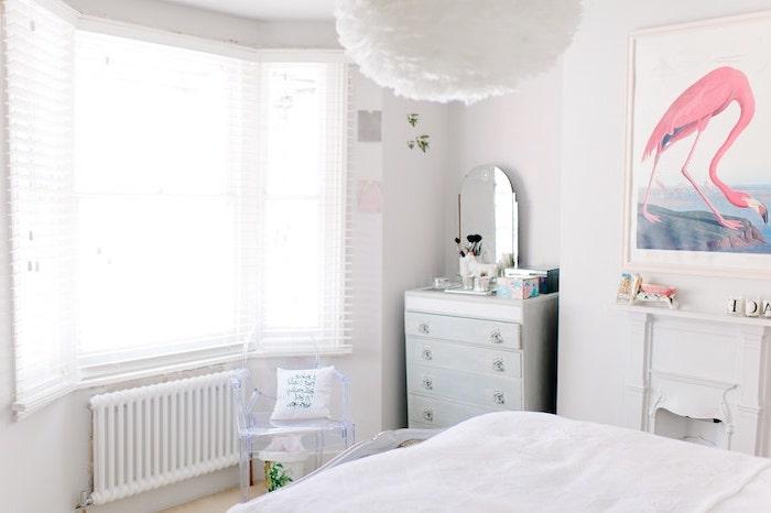 Photo chambre à coucher adulte moderne intérieur design contemporaine flamingo tableau mur decoration