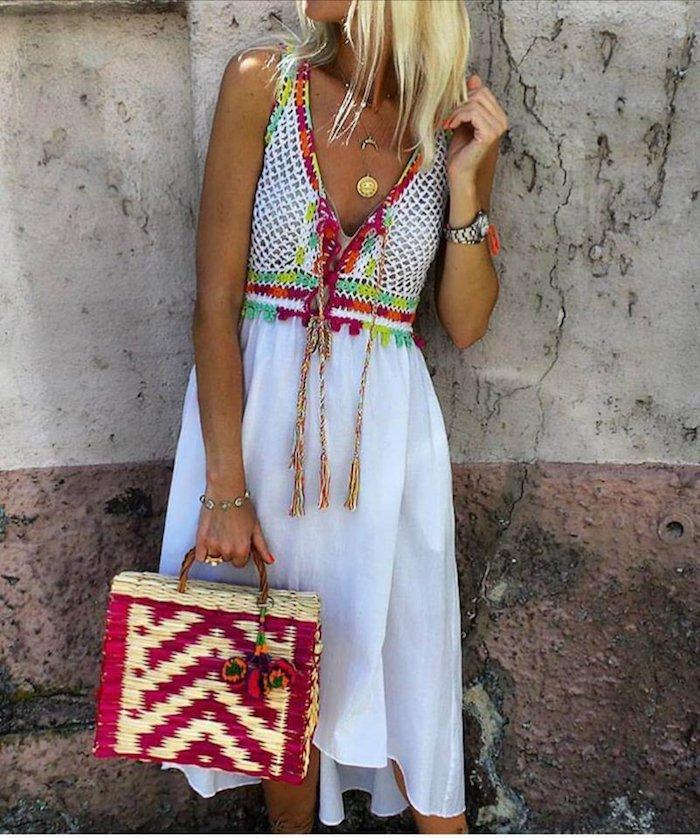 Robe blanche longue boheme cool idée robe blanche dentelle boheme robe vacances tenue robe blanche
