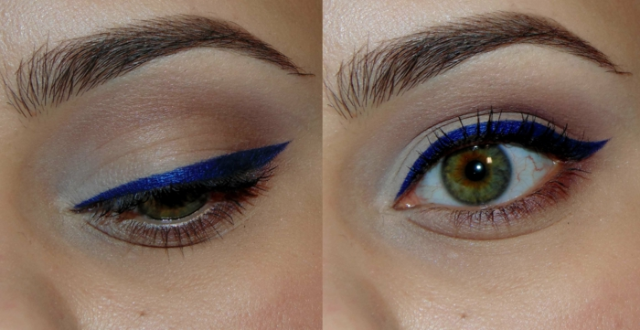 yeux tracés d'un liner bleu, maquillage stylé et simple à note artistique pour yeux verts
