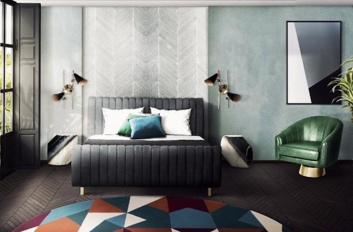 Chambre à coucher adulte moderne déco originale idée image décoration tapis ronde motif géométrique