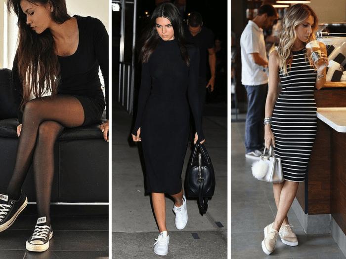 Baskets métallisées tenue avec pantalon noir tenue sneakers merveilleuse basket moderne femme look