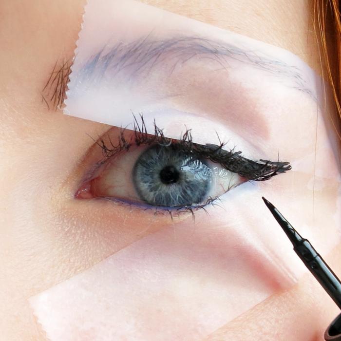 comment se maquiller les yeux et mettre un trait d'eye-liner proprement, yeux bleus