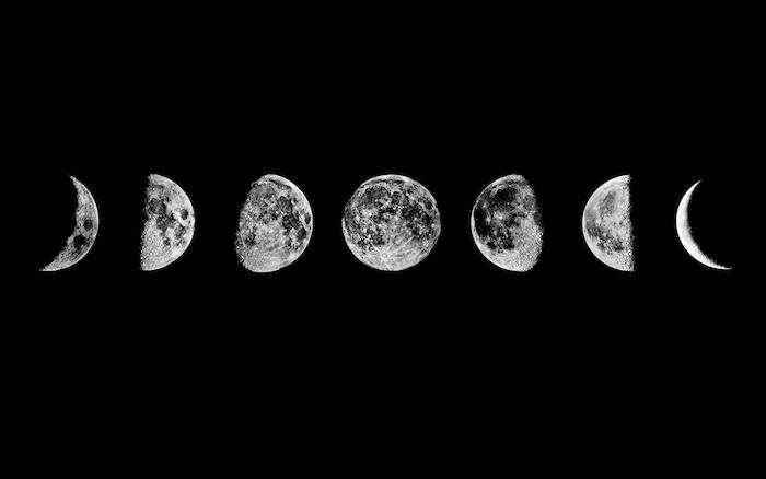 Les phases de la lune comment elle change avec le temps image noir et blanc photo originale pour ordinateur