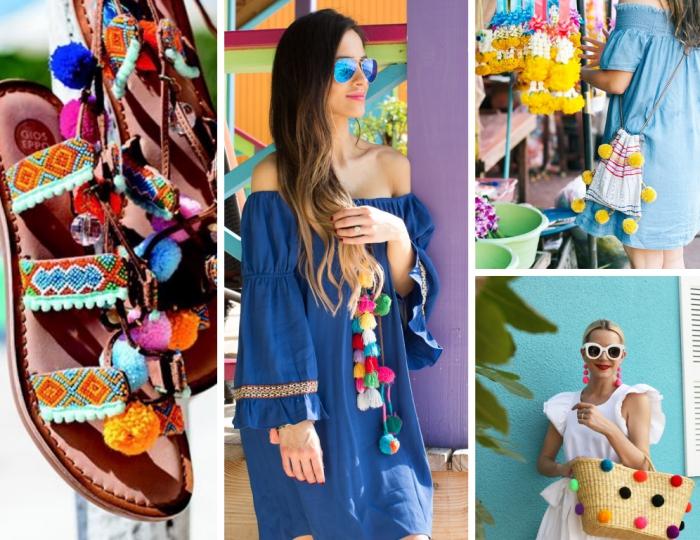 accessoires fashion pour femme à décoration colorée, comment faire un pompon pour décorer ses vêtements et chaussures