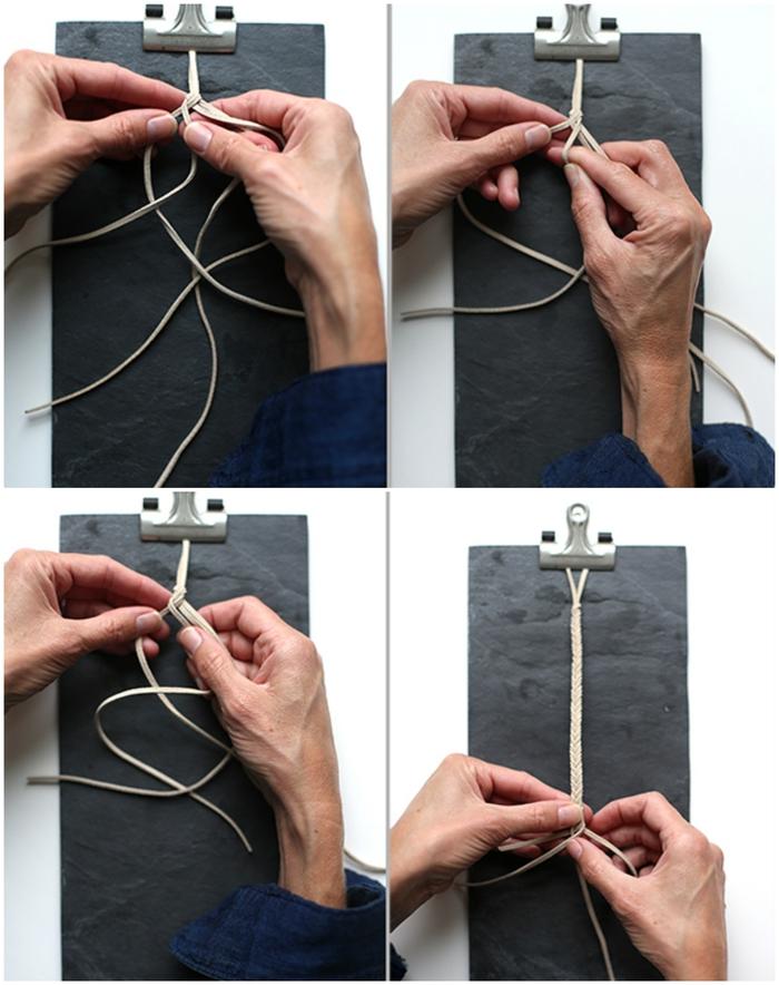 le tressage d'une attache tetine en suédine façon un bracelet brésilien à motif épi de blé