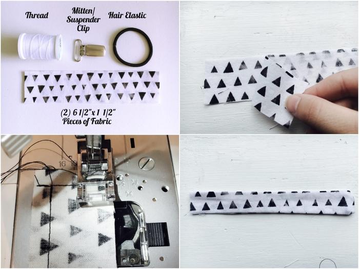 jolie accroche tetine en tissu imprimé à motif géométrique scandinave que vous pouvez réaliser en peu de temps