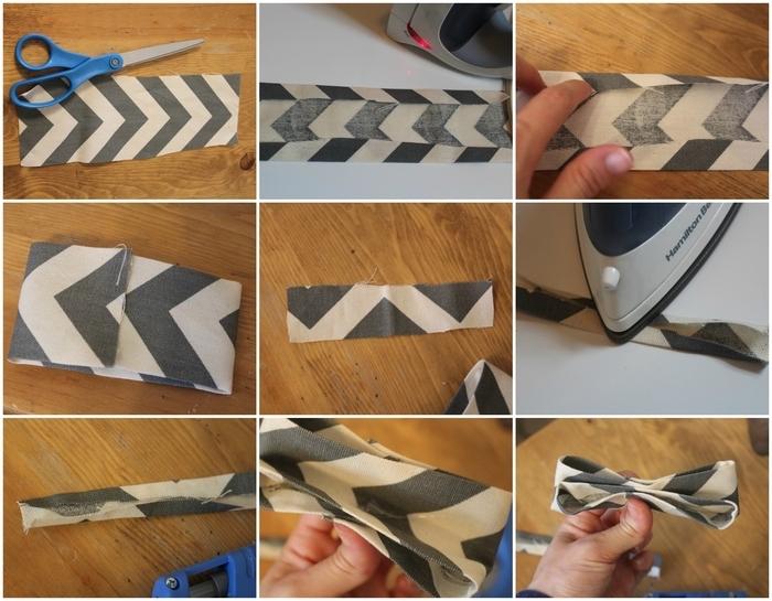 tuto de couture facile pour réaliser un attache sucette avec un noeud papillon en tissu graphique