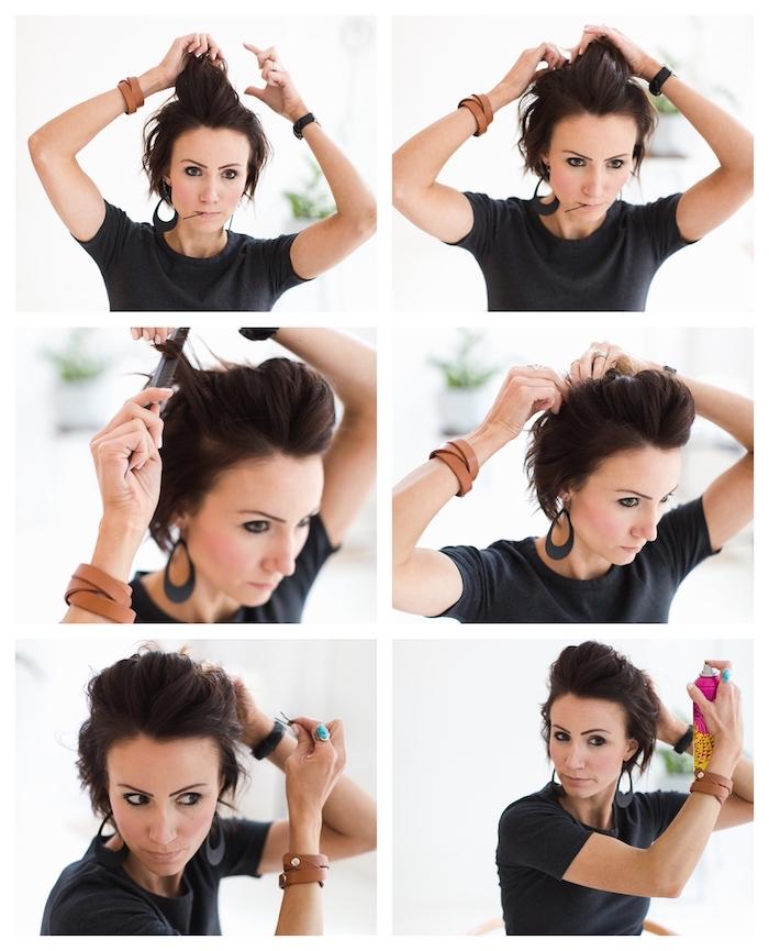 tuto coiffure cheveux court de mariage avec volume sur le dessus et mèches de coré attachés avec des épingles à cheveux