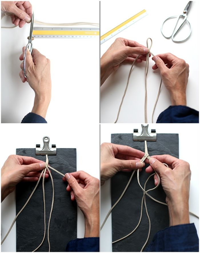 les étapes de réalisation d'une attache tétine personnalisée en suédine tressée avec une pince clip en métal