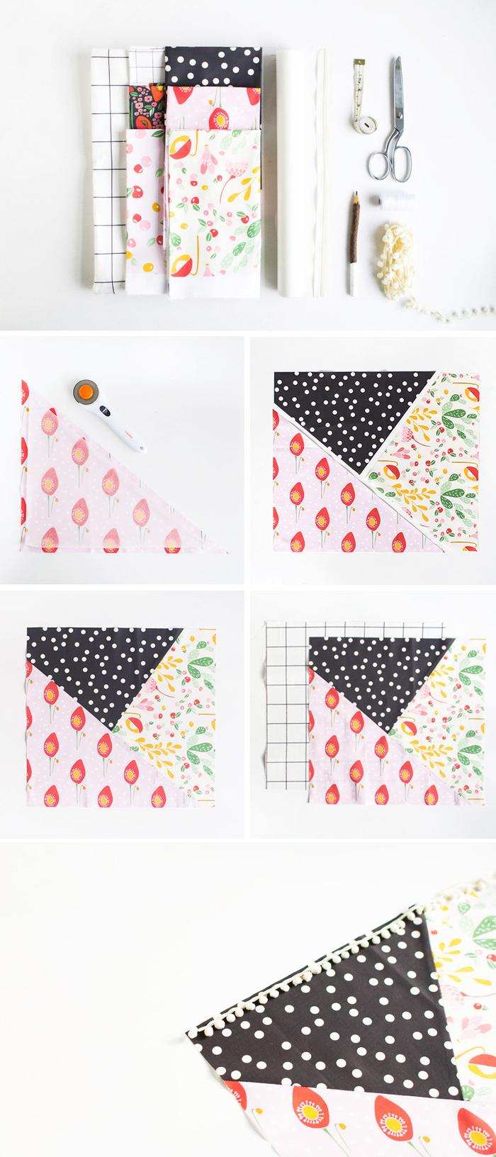 tuto couture facile pour réaliser une housse de coussin patchwork à motifs graphique et végétaux, idée cadeau fête des mères a fabriquer soi-même