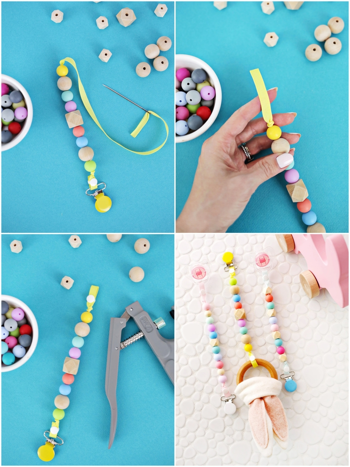 apprenez comment fabriquer une attache tétine personnalisée avec quelques perles en bois ou en silicone enfilées sur un ruban jaune