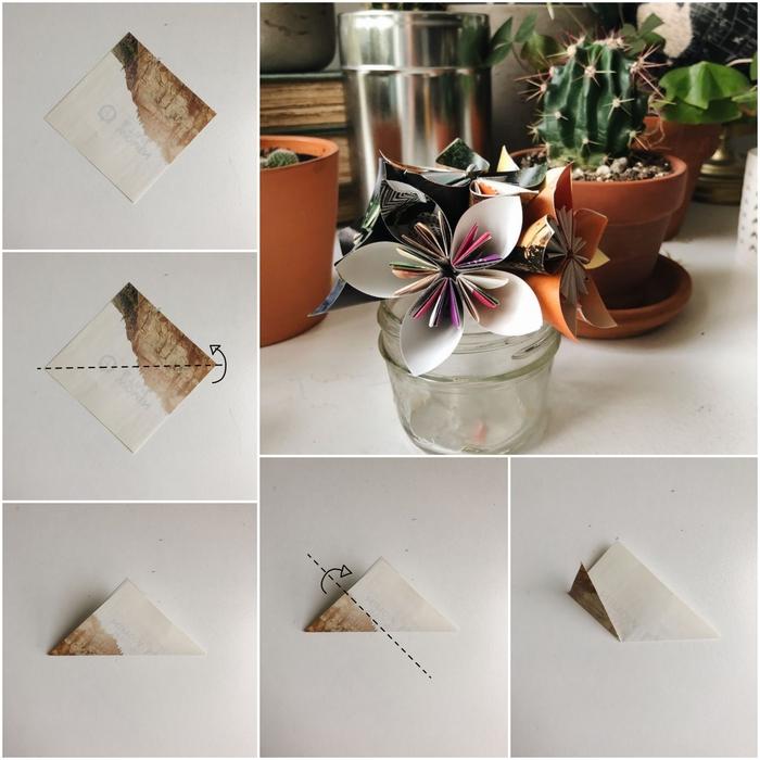 tuto origami facile avec les plis de base en détail pour réaliser une fleur à quatre pétales