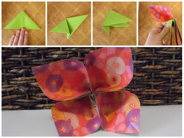 les étapes de pliage facile pour réaliser une fleur en origami à quatre pétales en papier à motif fleur