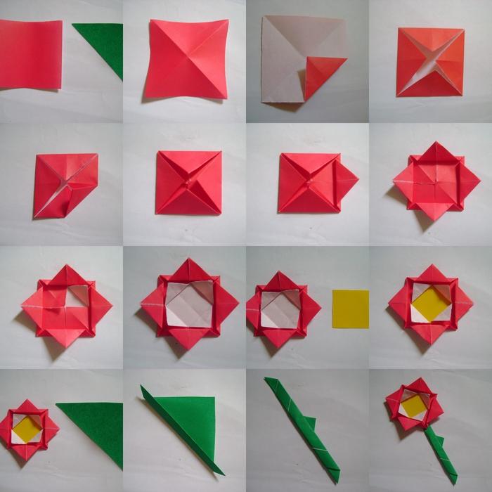 idée pour bricolage de printemps facile, le pas à pas d'une fleur en origami en forme de rose stylisée