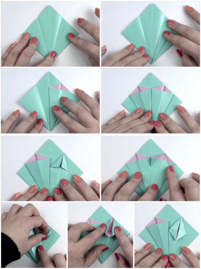 tuto fleur en papier double face pour réaliser un joli lis en origami avec lequel on pourrait décorer un emballage cadeau