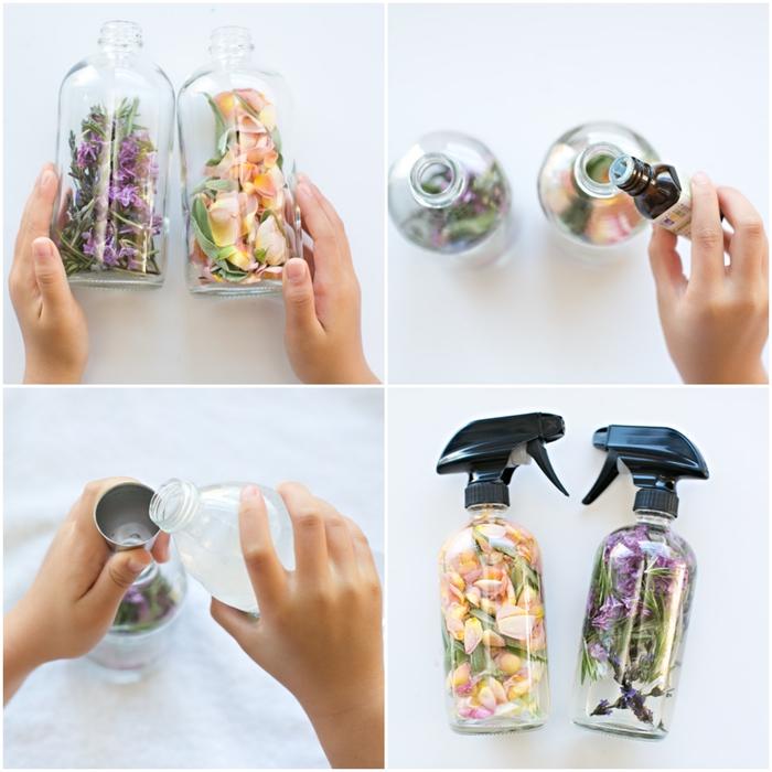 bricolage fête des mères pour tout petit, créer une fragrance unique et personnalisée avec cette recette de parfum naturel aux fleurs, herbes et huiles essentielles