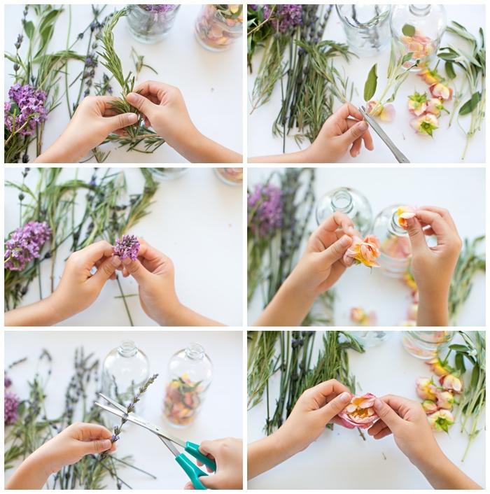 tuto pour réaliser un parfum naturel aux herbes, fleurs et huiles essentielles, bricolage fête des mères pour tout petit