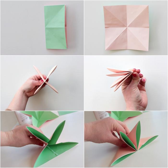 tuto pliage facile pour réaliser une jolie fleur dahlia en papier origami, idée originale pour un bouquet de fleurs en origami