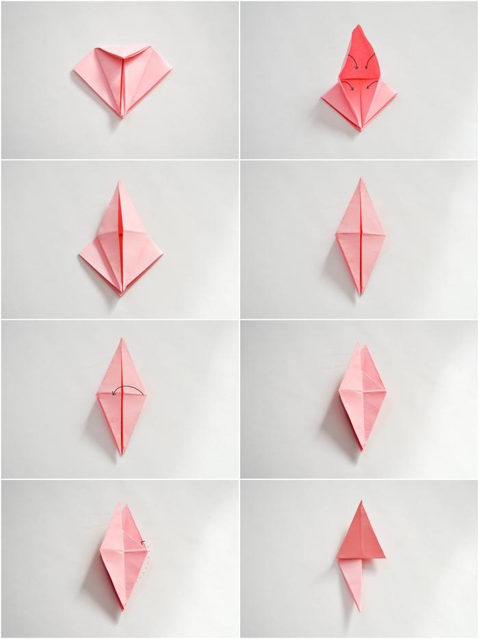 tuto pliage papier facile pour réaliser une jolie rose décorative en papier qui fera un joli accent déco sur une guirlande