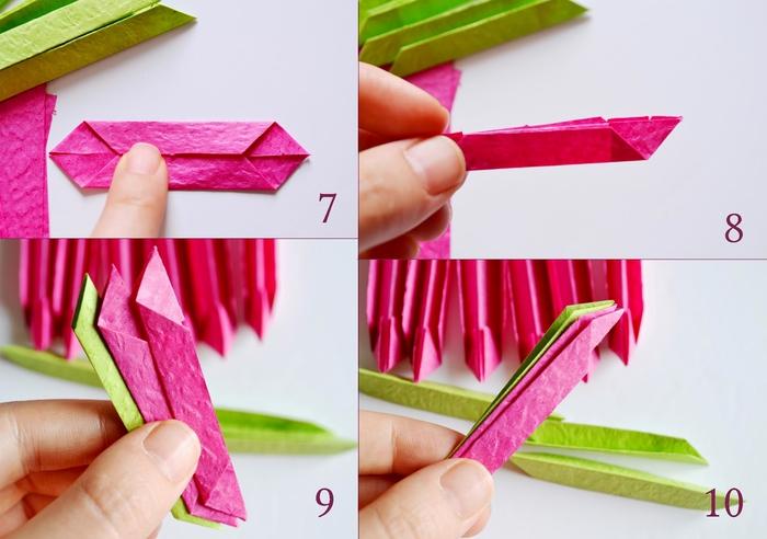 tuto origami facile pour réaliser une déco de table fleurie en fleur de lotus en papier aux couleurs vitaminées