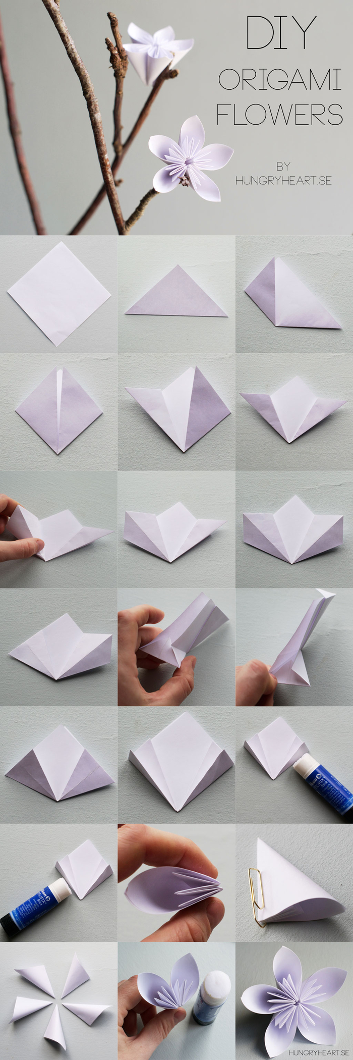 pliage esthétique et harmonieux d'une fleur en origami kusudama, idée pour une déco en branche fleurie décorée de fleurs en origami