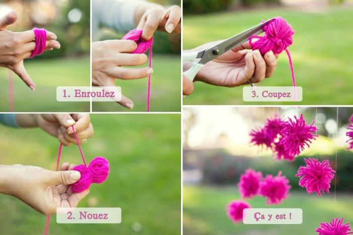 étapes à suivre pour apprendre comment faire un pompon, technique de fabrication de boules pelucheuses de laine