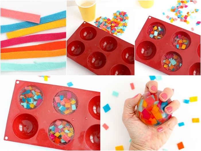 idée cadeau fête des mères à faire soi-même, comment faire des savons de fantaisie à confettis colorés en feutrine pour gâter sa maman