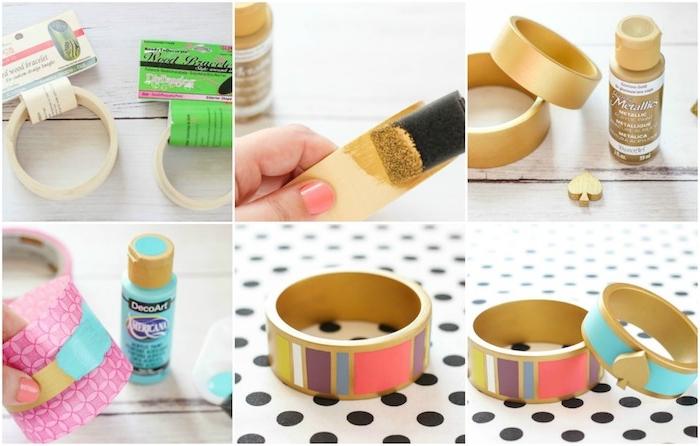 idée de cadeau fete des meres, bracelet bois coloré à motifs divers en peinture, bricolage fête des mères maternelle