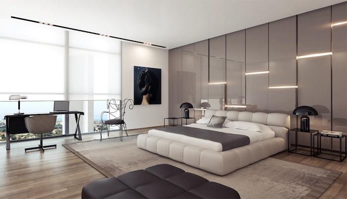 La plus belle chambre à coucher gris et beige style moderne inspiration deco photo
