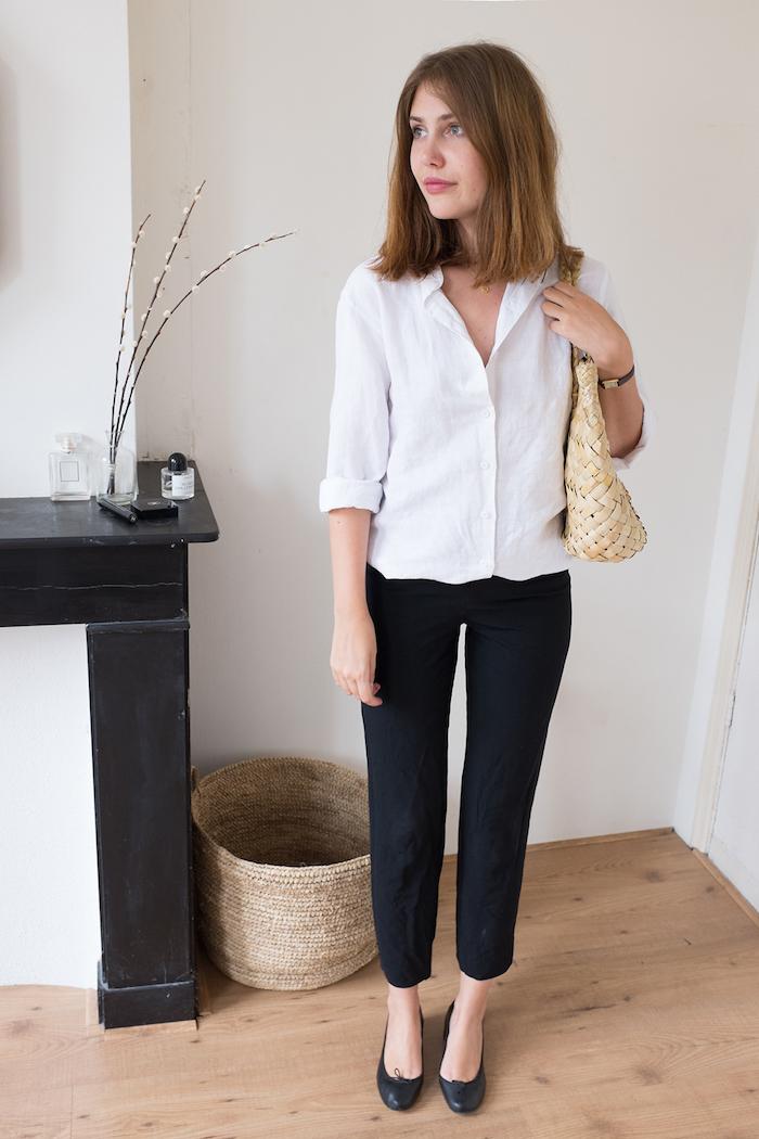 Une tenue femme bapteme combinaison tenue de bâpteme chic pantalon noir chemise blanche