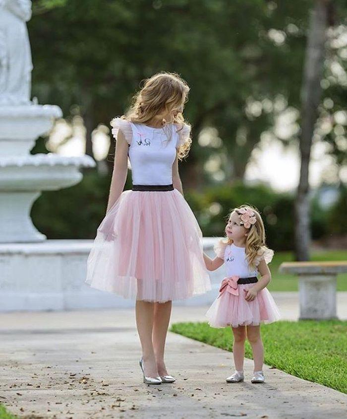 Chic tenue bapteme pour maman et enfant jupe princesse femme habillement chic style féminine enfant mignonne fille