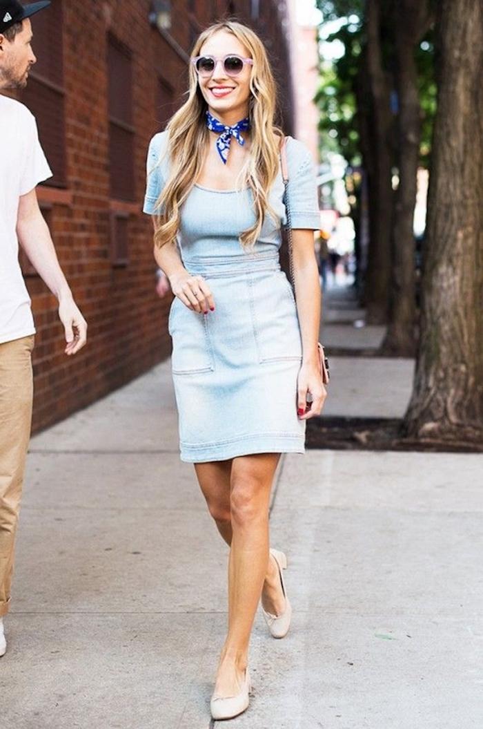 Idee tenue femme pour bapteme tenue vintage chic cérémonie robe denim