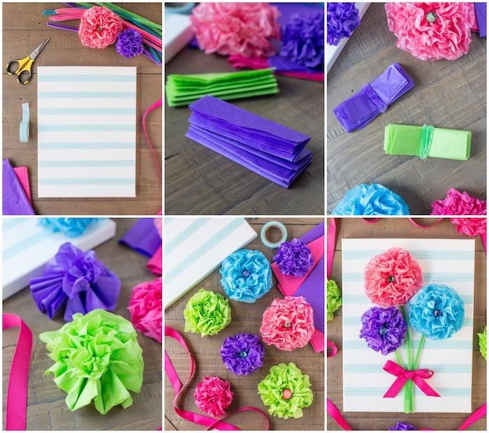 exemple de carte fête des mères à fabriquer soi meme, fleurs en papier de soie violet, bleu, rose sur tiges en cure pipe sur une toile