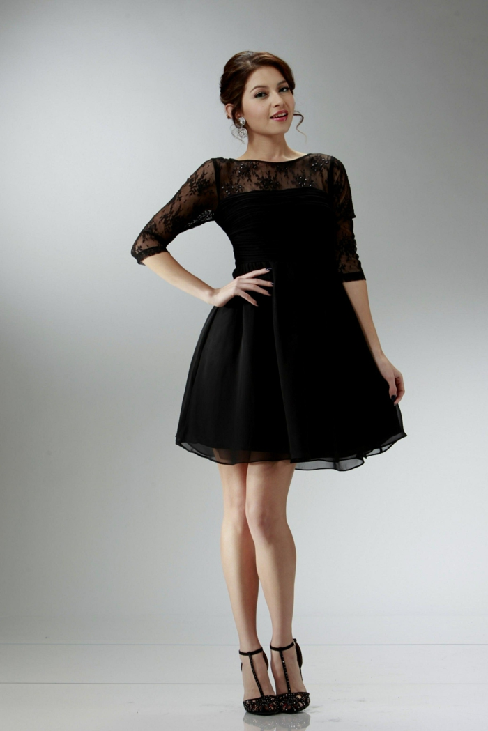 robe noire de bal, robe dentelle pas cher pour cocktails et mariages, robe de soirée chic