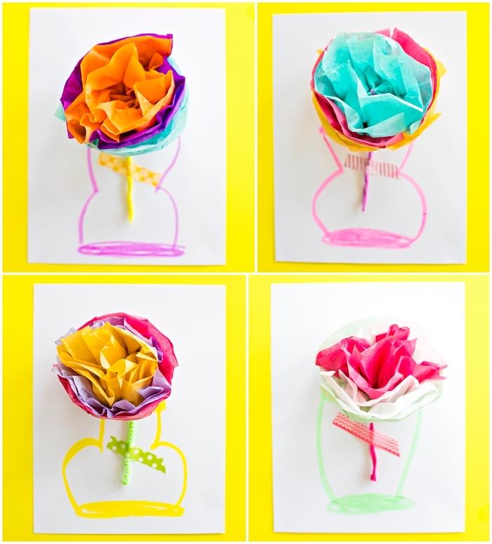 modele de carte fête des mères à fabriquer soi meme fleurs en papier de soie coloré avec des tiges cure pipe et vase dessiné sur un bout de papier