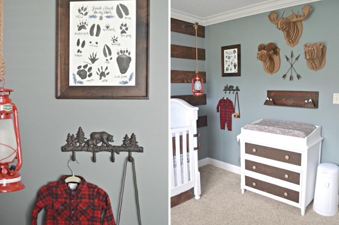 comment décorer une pièce enfant de style rustique avec peinture murale gris clair et objets décoratifs de bois