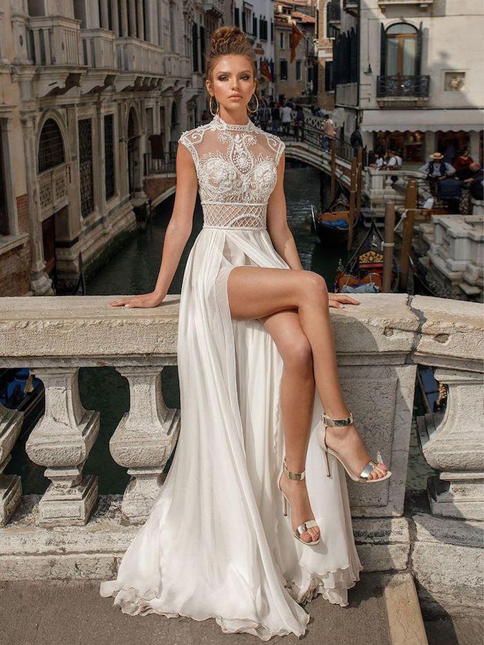 Chouette idée robe de mariée collection 2018 mariage chouette robe pour femme mariée robe etroite fendue mariage à Venice