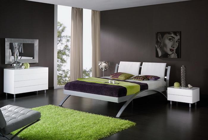 Armoire chambre adulte aménager la chambre a coucher cool idée à réaliser chambre vert et noir déco moderne