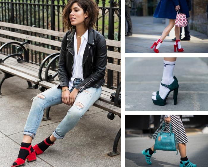 modèle de chaussure femme en version sandales rouges portées avec chaussettes courtes en noir, comment porter la veste en cuir noir femme